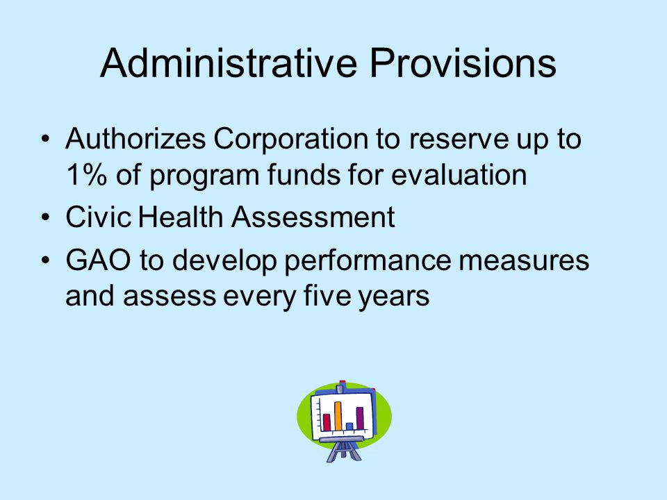 Administrative Provisions Authorizes Corporation to reserve up to 1% of program funds for evaluation Civic Health Assessment GAO to develop performance measures and assess every five years