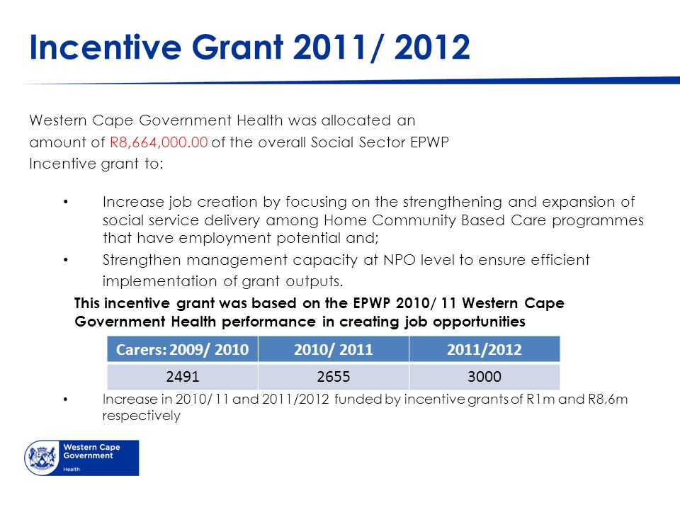 Incentive Grant 2011/ 2012 Western Cape Government Health was allocated an amount of R8,664,000.00 of the overall Social Sector EPWP Incentive grant t