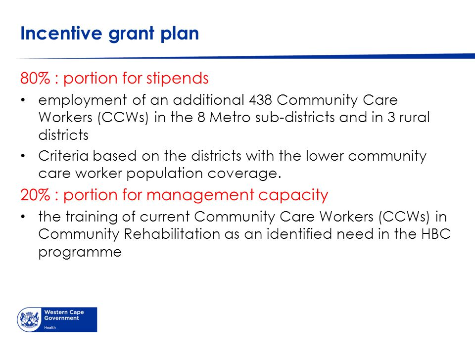 Incentive grant plan 80% : portion for stipends employment of an additional 438 Community Care Workers (CCWs) in the 8 Metro sub-districts and in 3 rural districts Criteria based on the districts with the lower community care worker population coverage.