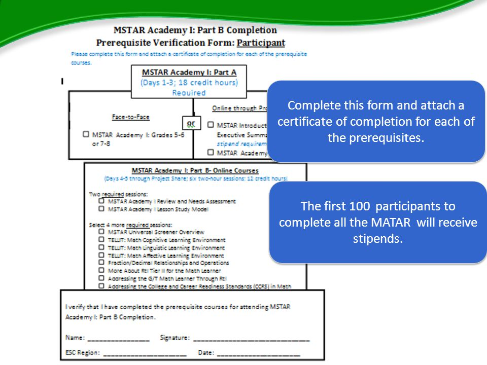 Complete this form and attach a certificate of completion for each of the prerequisites.