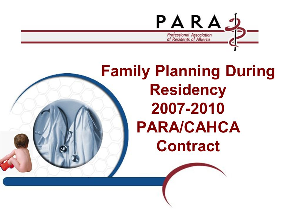 Family Planning During Residency 2007-2010 PARA/CAHCA Contract
