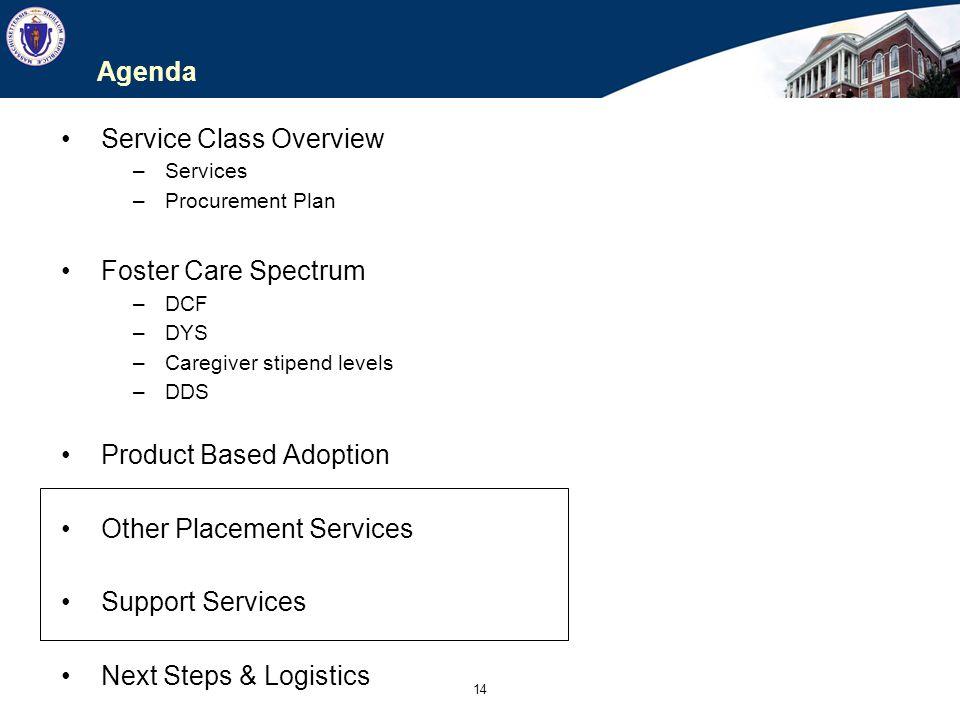 14 Agenda Service Class Overview –Services –Procurement Plan Foster Care Spectrum –DCF –DYS –Caregiver stipend levels –DDS Product Based Adoption Othe