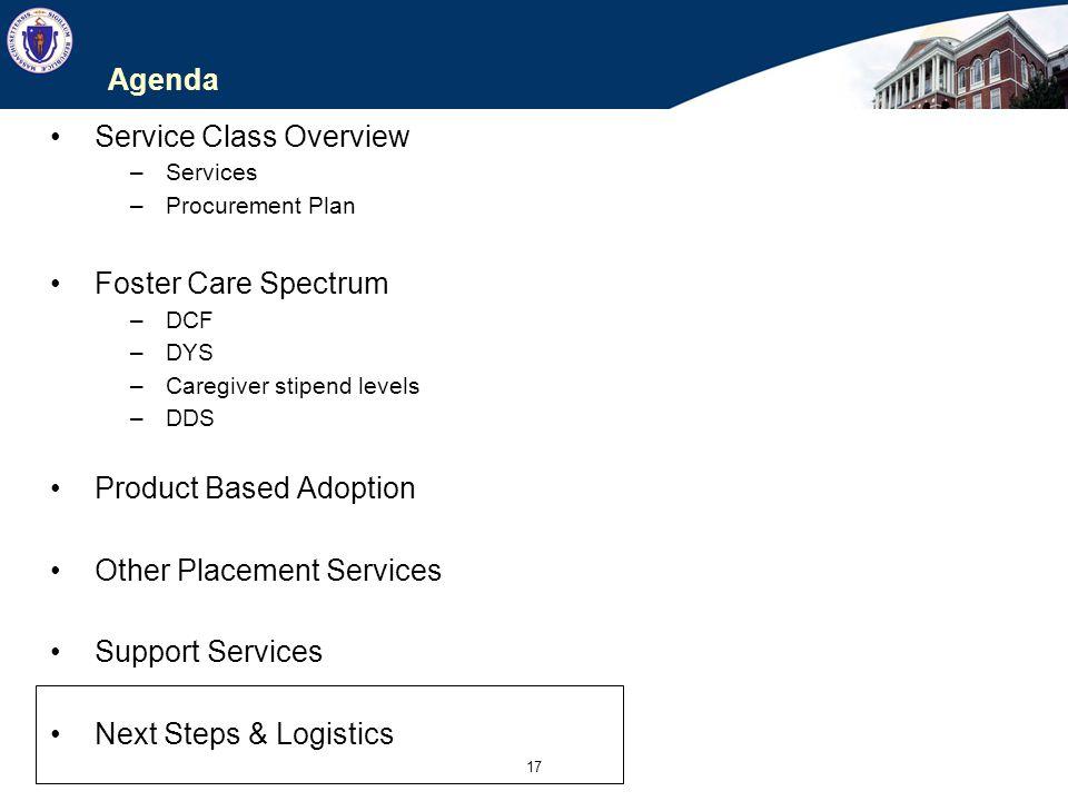 17 Agenda Service Class Overview –Services –Procurement Plan Foster Care Spectrum –DCF –DYS –Caregiver stipend levels –DDS Product Based Adoption Othe