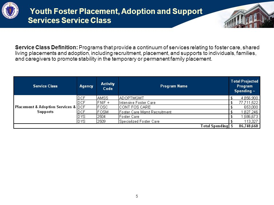 6 Youth Foster Placement, Adoption and Support Services Draft Procurement Proposal 100% of DYS providers are also DCF providers Combined DYS and DCF purchased over $85M of contracted foster care and support services in FY11 DCF & DYS will jointly develop an RFR to create a master agreement with shared rate contracts for release in early 2013, following the promulgation of the Youth Placement & Adoption Rates.