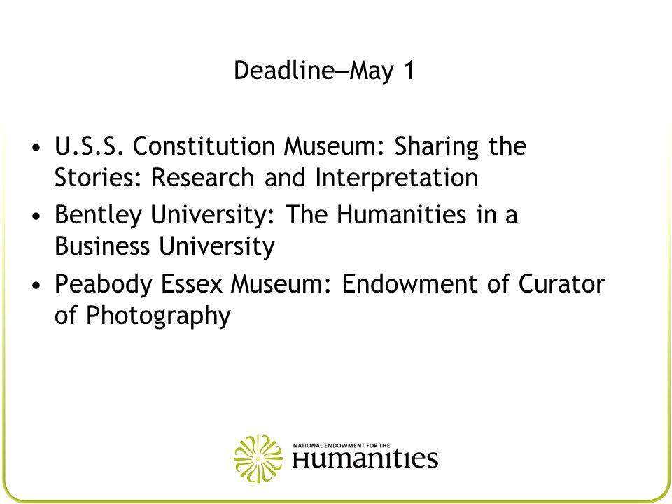 Deadline – May 1 U.S.S.