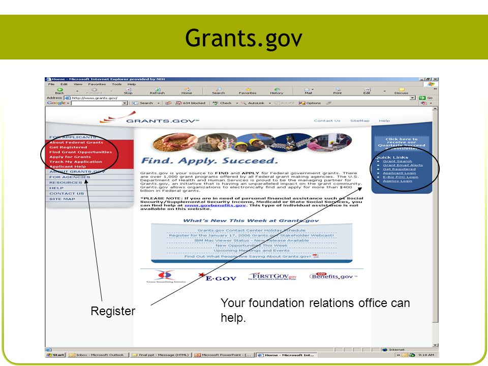 Grants.gov Register Your foundation relations office can help.
