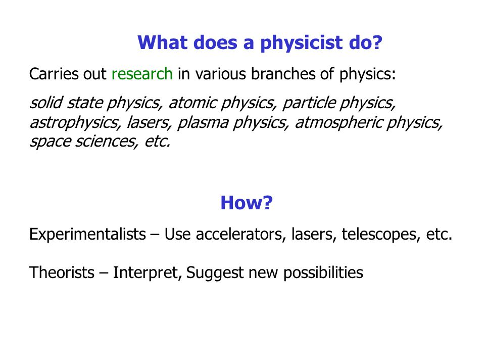 What does a physicist do.