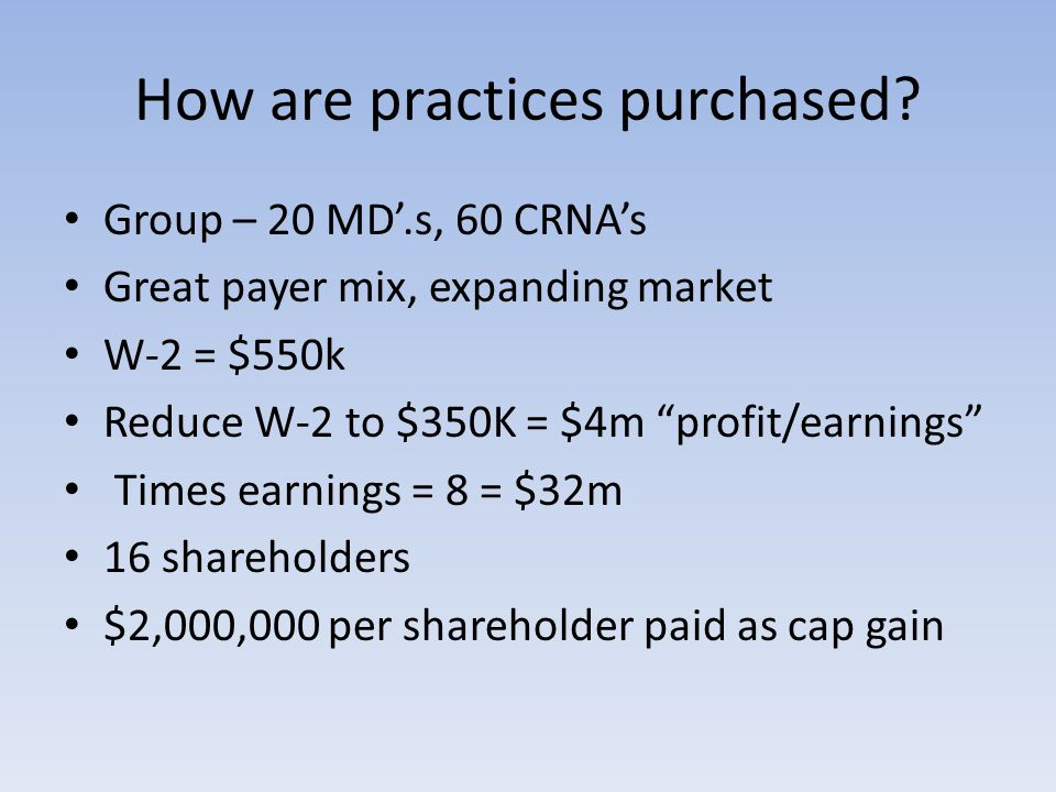 How are practices purchased.