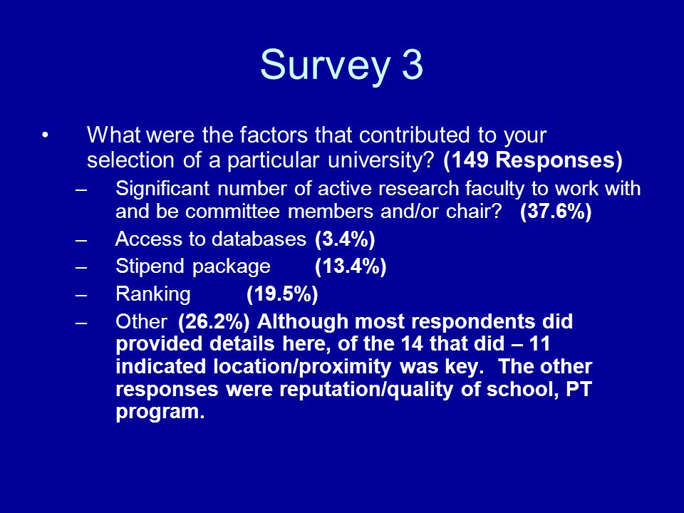 Survey 3 What were the factors that contributed to your selection of a particular university? (149 Responses) –Significant number of active research f