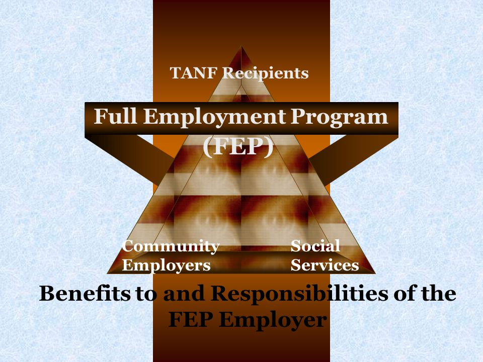 Full Employment Program Community Employers Social Services TANF Recipients (FEP) Benefits to and Responsibilities of the FEP Employer