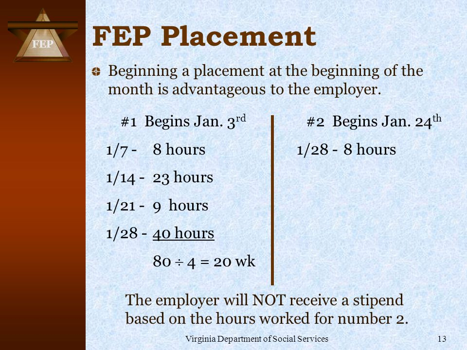 FEP Virginia Department of Social Services13 FEP Placement Beginning a placement at the beginning of the month is advantageous to the employer.