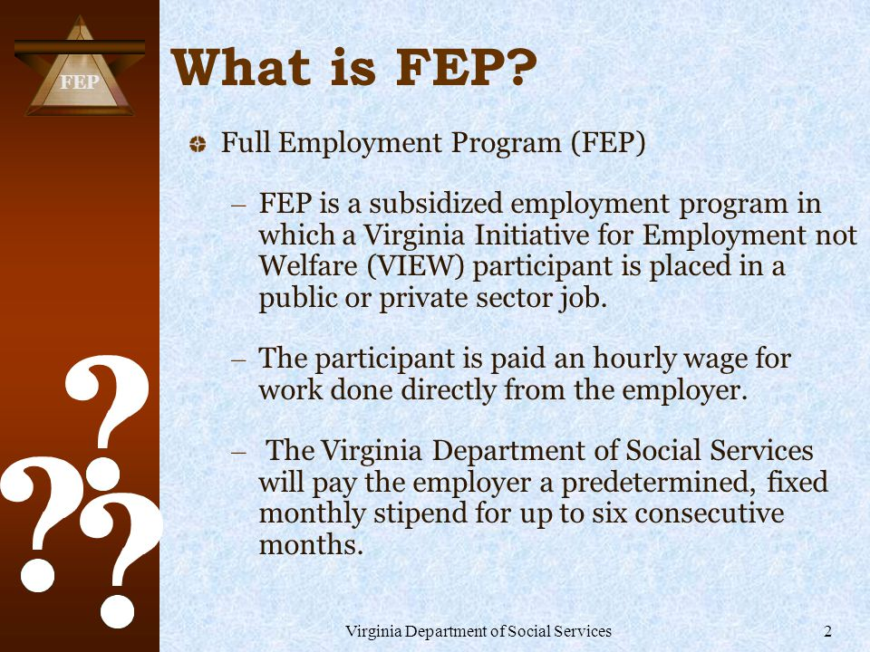 FEP Virginia Department of Social Services2 What is FEP.