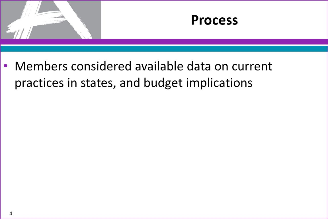 Members considered available data on current practices in states, and budget implications Process 4
