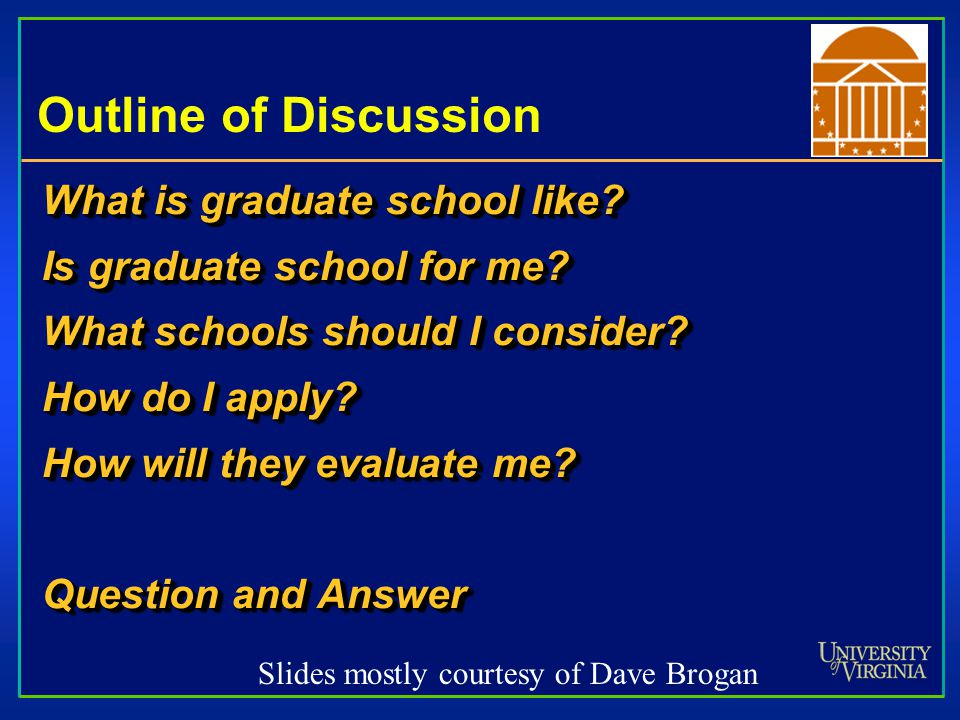 Outline of Discussion What is graduate school like? Is graduate school for me? What schools should I consider? How do I apply? How will they evaluate