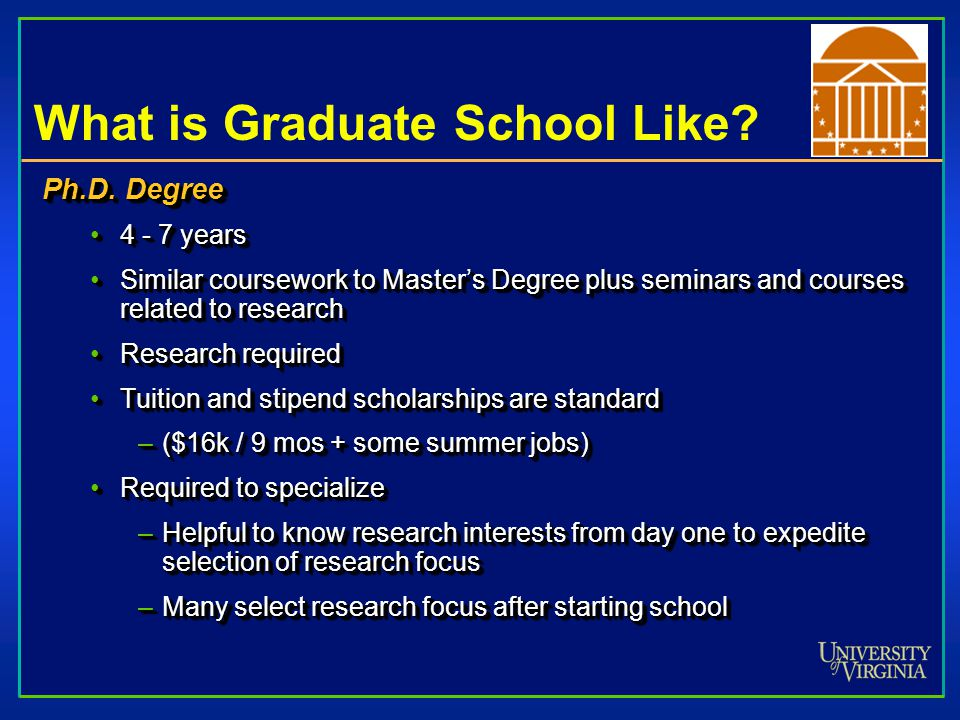 What is Graduate School Like. Ph.D.