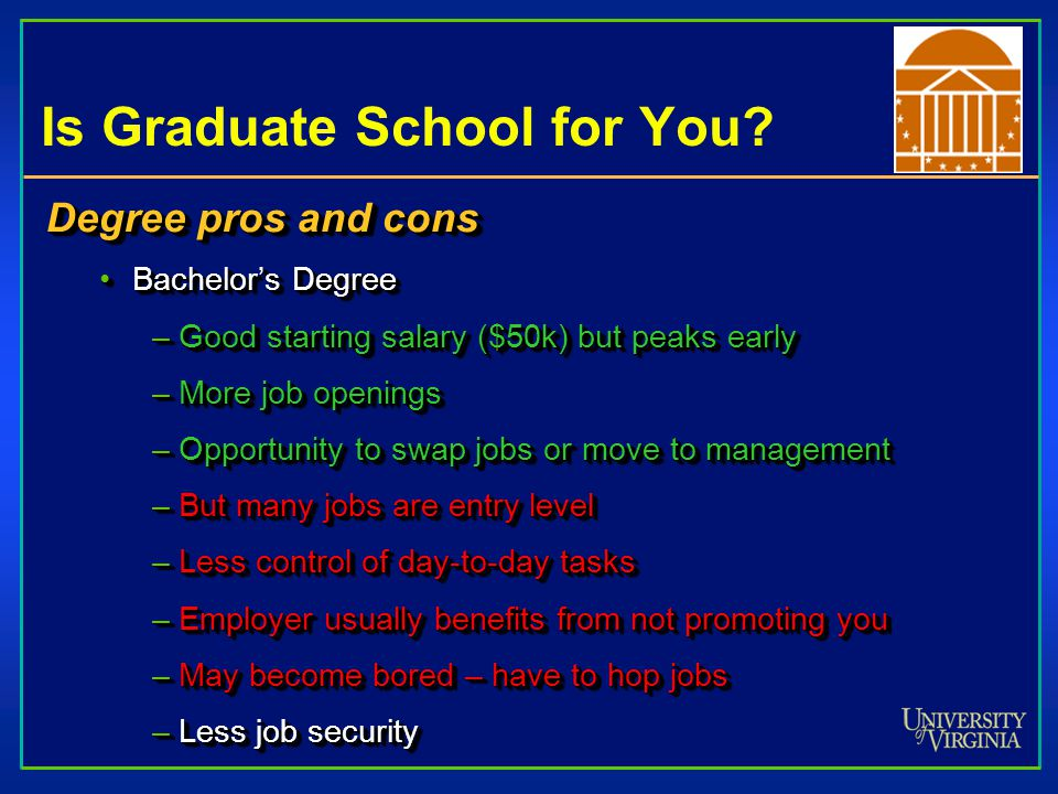 Is Graduate School for You? Degree pros and cons Bachelor's DegreeBachelor's Degree –Good starting salary ($50k) but peaks early –More job openings –O