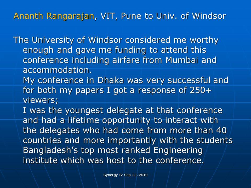 Ananth Rangarajan, VIT, Pune to Univ.