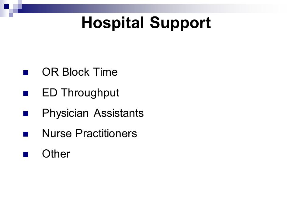 Hospital Support OR Block Time ED Throughput Physician Assistants Nurse Practitioners Other