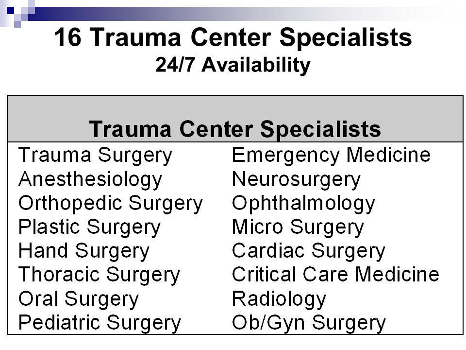 16 Trauma Center Specialists 24/7 Availability