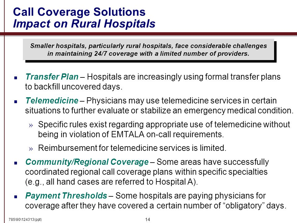 785\90\124313(ppt) 14 Call Coverage Solutions Impact on Rural Hospitals Smaller hospitals, particularly rural hospitals, face considerable challenges in maintaining 24/7 coverage with a limited number of providers.