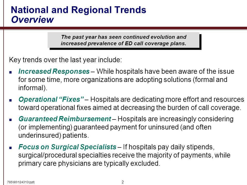 785\90\124313(ppt) 2 National and Regional Trends Overview The past year has seen continued evolution and increased prevalence of ED call coverage plans.