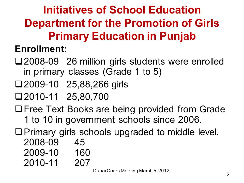 Initiatives of School Education Department for the Promotion of Girls Primary Education in Punjab Enrollment:  2008-09 26 million girls students were enrolled in primary classes (Grade 1 to 5)  2009-10 25,88,266 girls  2010-11 25,80,700  Free Text Books are being provided from Grade 1 to 10 in government schools since 2006.