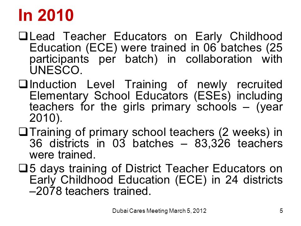 In 2010  Lead Teacher Educators on Early Childhood Education (ECE) were trained in 06 batches (25 participants per batch) in collaboration with UNESCO.
