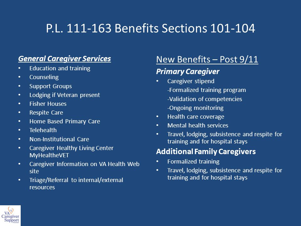 P.L. 111-163 Benefits Sections 101-104 General Caregiver Services Education and training Counseling Support Groups Lodging if Veteran present Fisher H