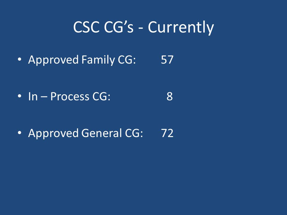 CSC CG's - Currently Approved Family CG:57 In – Process CG: 8 Approved General CG:72