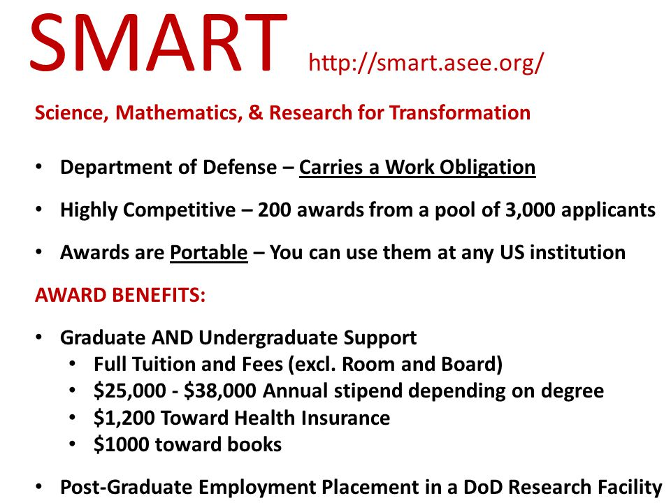 SMART Science, Mathematics, & Research for Transformation ELIGIBILITY: US Citizens only 18 years of age or older by August 1, 2015 Be an undergraduate enrolled in a US university Be an undergrad or recent grad applying for graduate admissions Be a grad student enrolled in a US university Be able to participate in summer internships in DoD Labs Be willing to accept post-graduate employment with the DoD Must be studying a supported discipline (next slide)