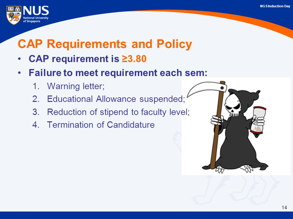 NGS Induction Day CAP Requirements and Policy CAP requirement is ≥3.80 Failure to meet requirement each sem: 1.Warning letter; 2.Educational Allowance suspended; 3.Reduction of stipend to faculty level; 4.Termination of Candidature 14
