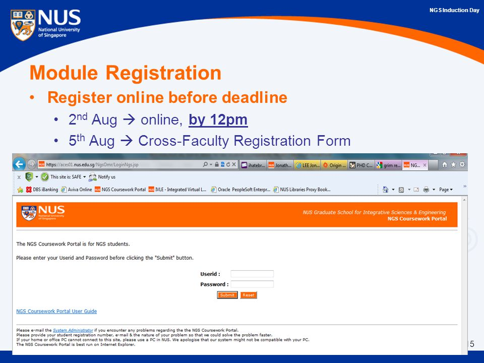 nus ngs coursework portal Welcome to nus guest accommodation booking system nus provides guest accommodation for visiting academics, consultants.