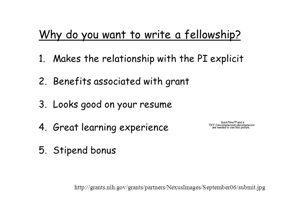 Why do you want to write a fellowship.