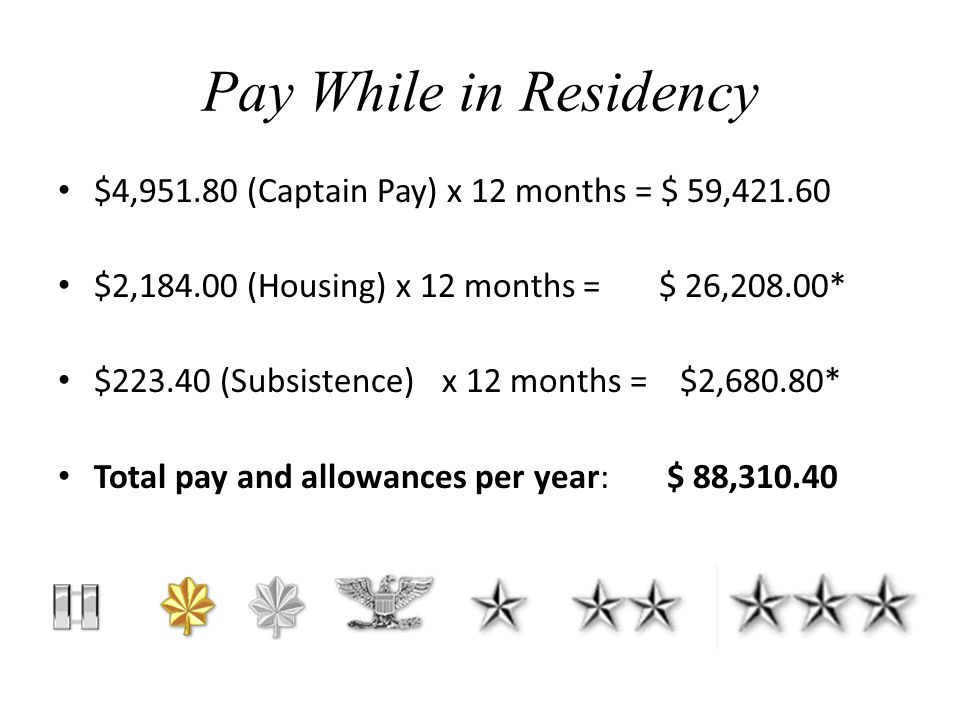 Pay While in Residency $4,951.80 (Captain Pay) x 12 months = $ 59,421.60 $2,184.00 (Housing) x 12 months = $ 26,208.00* $223.40 (Subsistence)x 12 months = $2,680.80* Total pay and allowances per year: $ 88,310.40