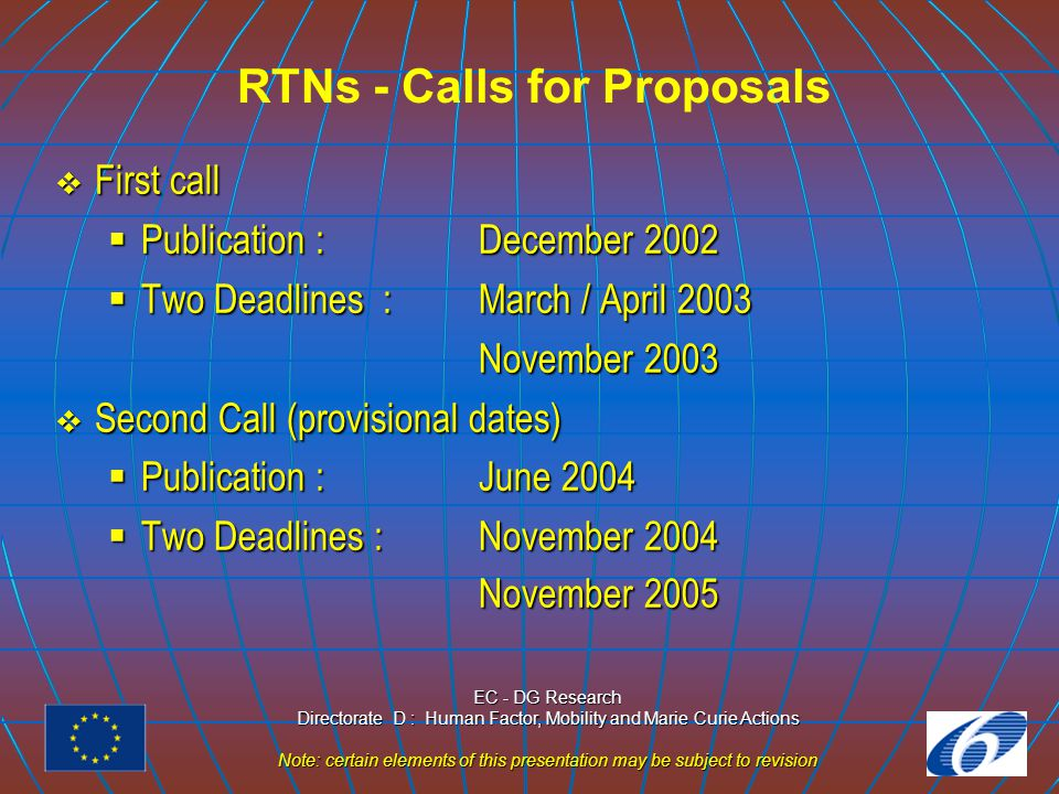 EC - DG Research Directorate D : Human Factor, Mobility and Marie Curie Actions Note: certain elements of this presentation may be subject to revision RTNs - Calls for Proposals  First call  Publication : December 2002  Two Deadlines : March / April 2003 November 2003  Second Call (provisional dates)  Publication : June 2004  Two Deadlines : November 2004 November 2005