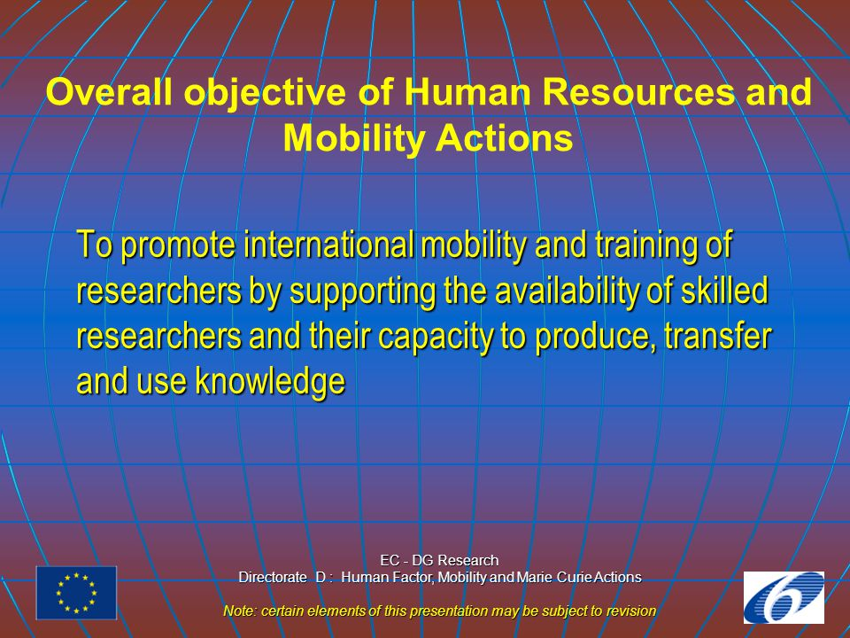 EC - DG Research Directorate D : Human Factor, Mobility and Marie Curie Actions Note: certain elements of this presentation may be subject to revision RTNs - Objectives of the Action  Training for and through research, inc.