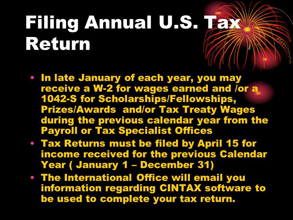 Filing Annual U.S.