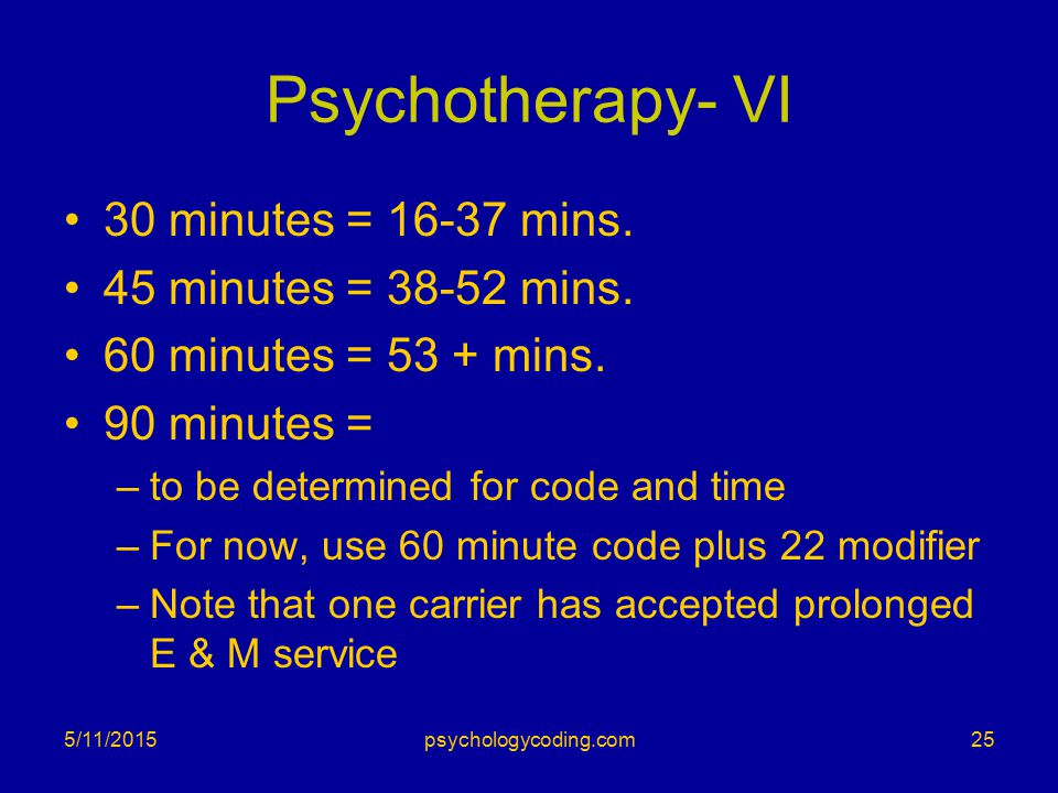Psychotherapy- VI 30 minutes = 16-37 mins. 45 minutes = 38-52 mins. 60 minutes = 53 + mins. 90 minutes = –to be determined for code and time –For now,