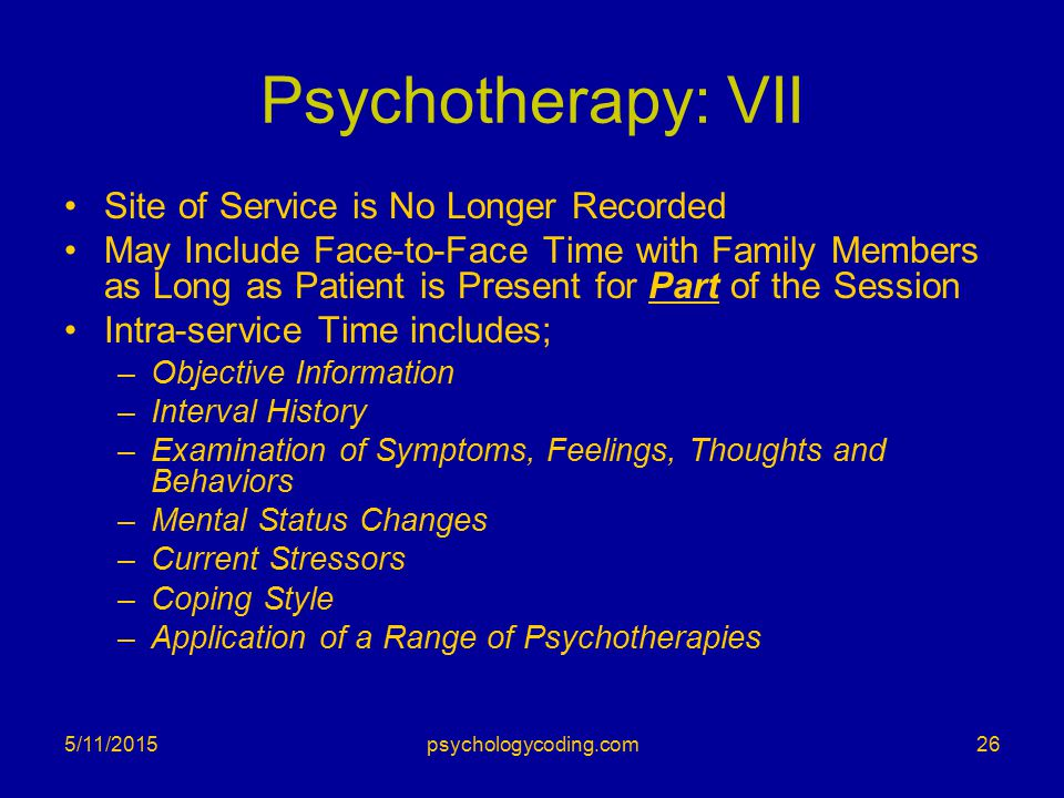 Psychotherapy: VII Site of Service is No Longer Recorded May Include Face-to-Face Time with Family Members as Long as Patient is Present for Part of t