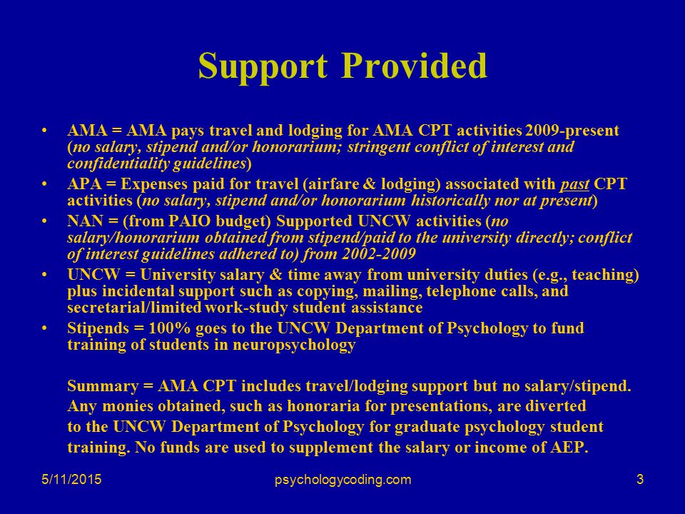 5/11/2015 Support Provided AMA = AMA pays travel and lodging for AMA CPT activities 2009-present (no salary, stipend and/or honorarium; stringent conf