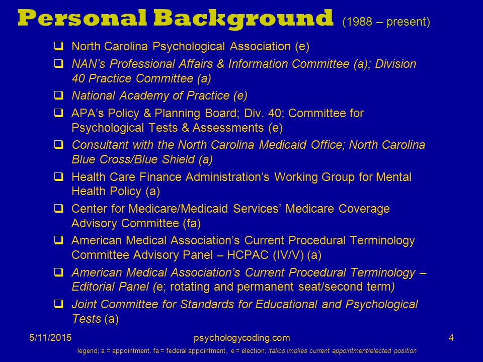 5/11/2015 Personal Background (1988 – present)  North Carolina Psychological Association (e)  NAN's Professional Affairs & Information Committee (a)