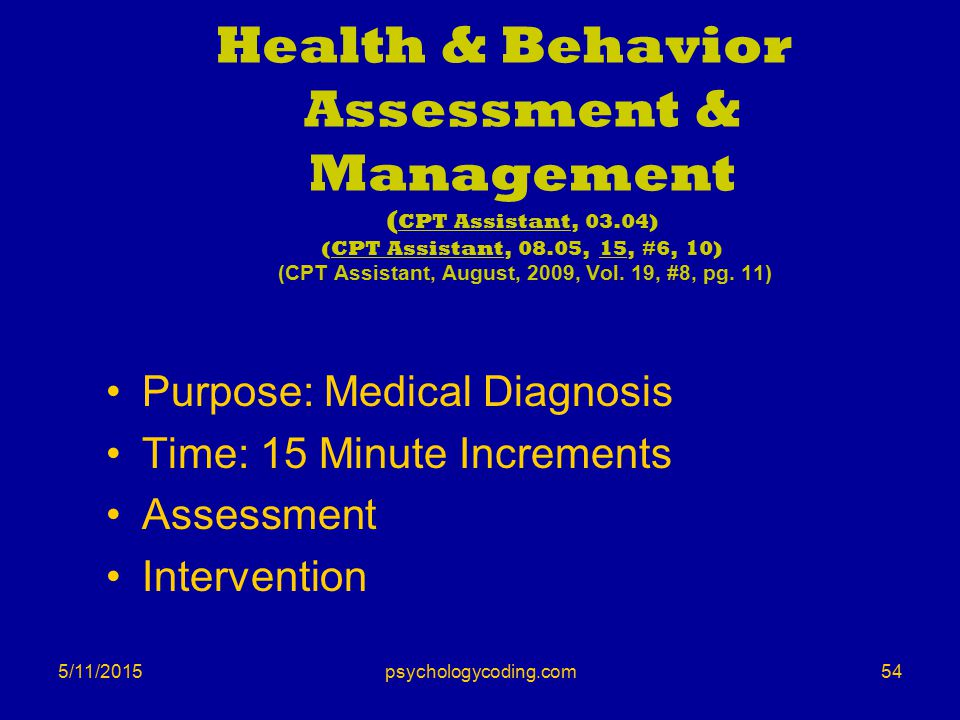 5/11/2015 Health & Behavior Assessment & Management ( CPT Assistant, 03.04) (CPT Assistant, 08.05, 15, #6, 10) (CPT Assistant, August, 2009, Vol. 19,