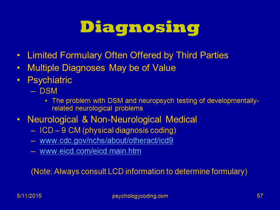 5/11/2015 Diagnosing Limited Formulary Often Offered by Third Parties Multiple Diagnoses May be of Value Psychiatric –DSM The problem with DSM and neu