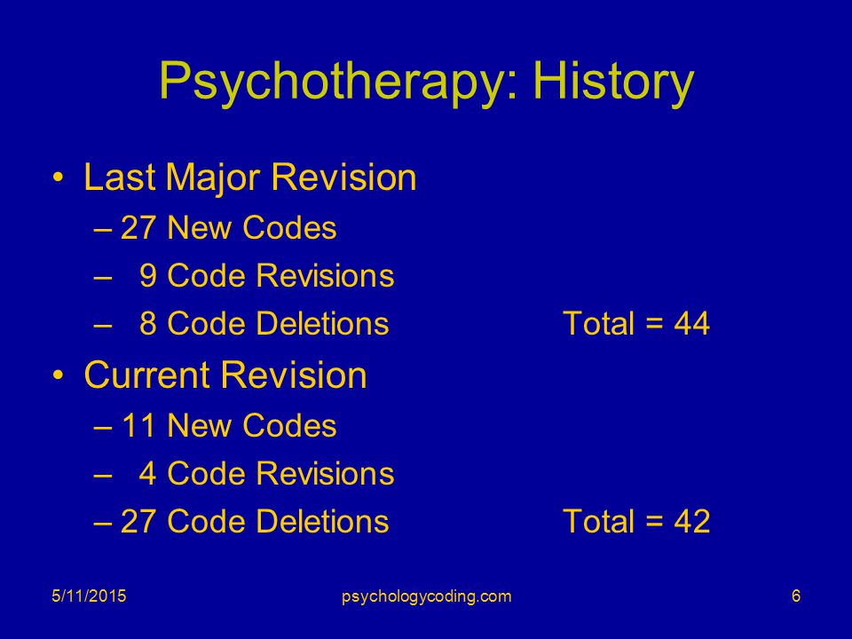 Psychotherapy: History Last Major Revision –27 New Codes – 9 Code Revisions – 8 Code DeletionsTotal = 44 Current Revision –11 New Codes – 4 Code Revis