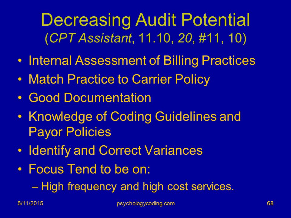 Decreasing Audit Potential (CPT Assistant, 11.10, 20, #11, 10) Internal Assessment of Billing Practices Match Practice to Carrier Policy Good Document