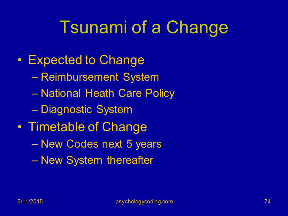 Tsunami of a Change Expected to Change –Reimbursement System –National Heath Care Policy –Diagnostic System Timetable of Change –New Codes next 5 year