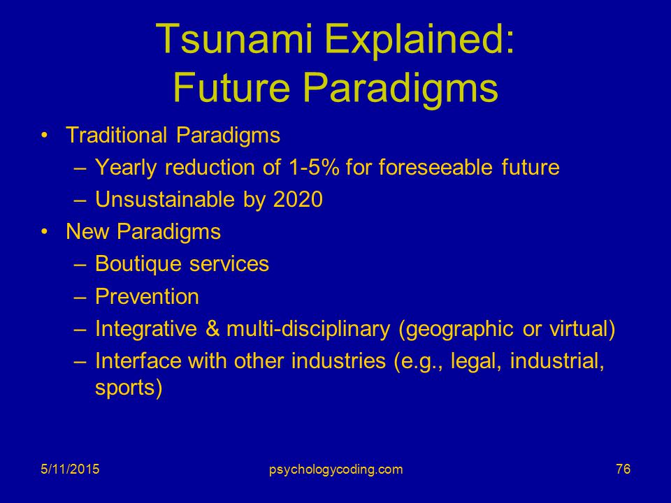 Tsunami Explained: Future Paradigms Traditional Paradigms –Yearly reduction of 1-5% for foreseeable future –Unsustainable by 2020 New Paradigms –Bouti