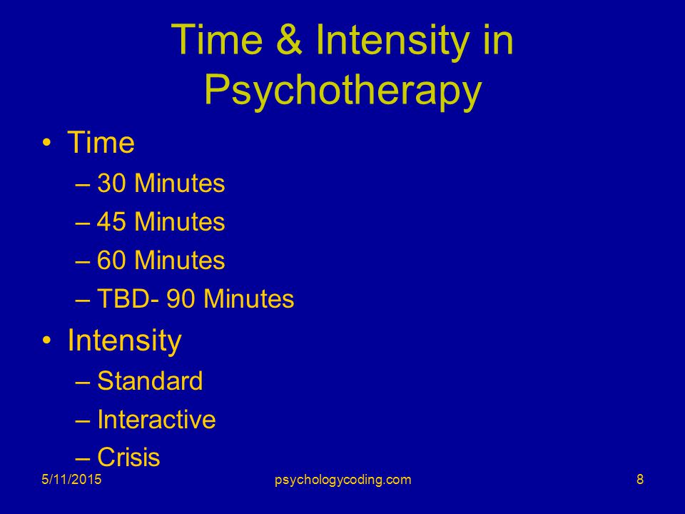 Time & Intensity in Psychotherapy Time –30 Minutes –45 Minutes –60 Minutes –TBD- 90 Minutes Intensity –Standard –Interactive –Crisis 5/11/20158psychologycoding.com