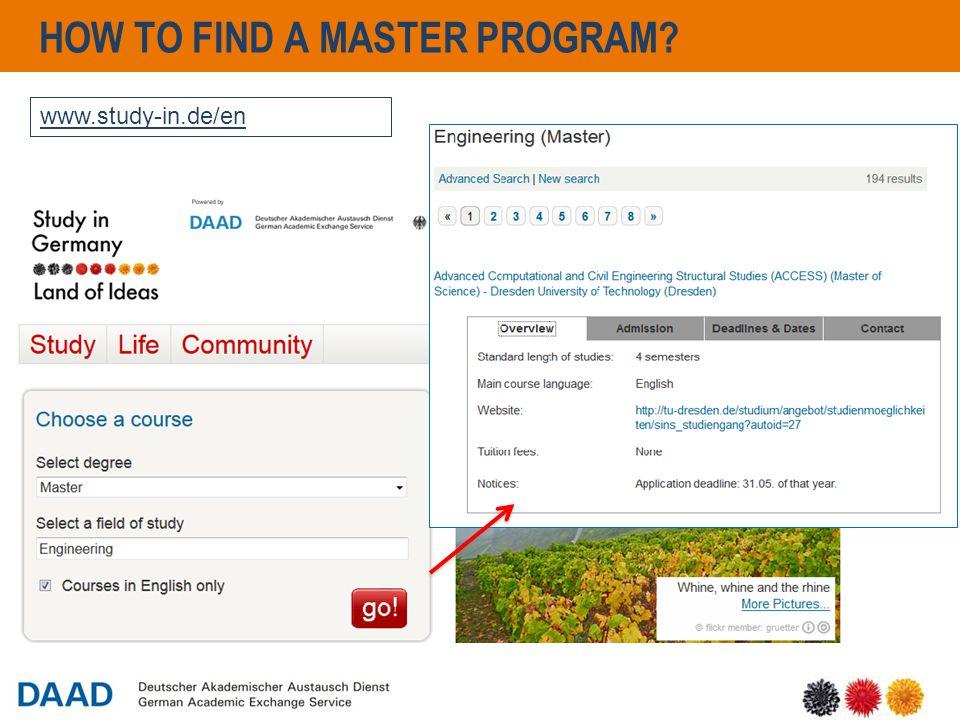 13 HOW TO FIND A MASTER PROGRAM? www.study-in.de/en