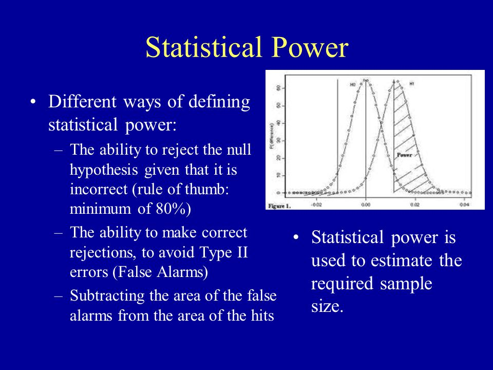 Statistical Power Different ways of defining statistical power: –The ability to reject the null hypothesis given that it is incorrect (rule of thumb: